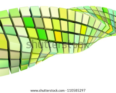 abstract wave swirl 3d shape in green yellow on white - stock photo