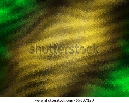 Abstract wavy color pattern resembling light shining through stained hammered glass in shades of gold and green - stock photo