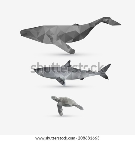 Abstract whale, shark, and turtle illustration set - stock photo