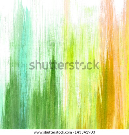 abstract white background green yellow orange pink blue colors, old faded watercolor paint background fun colorful multicolor gradient background design element for graphic art border design or web - stock photo