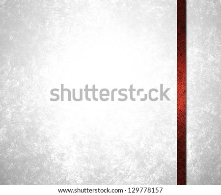 abstract white background red ribbon stripe layout design for website template background sidebar banner, silvery white formal wedding or anniversary invitation stationary, frosty white Christmas card - stock photo