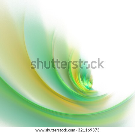 Abstract white background with green, orange and yellow colored wave texture, fractal - stock photo