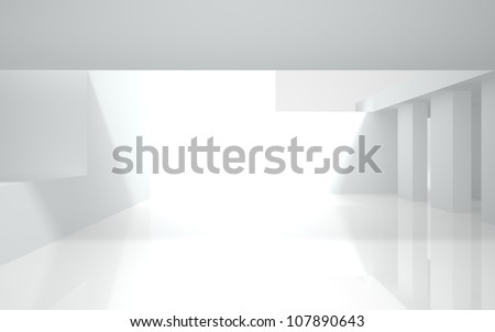 abstract white building on a white background - stock photo