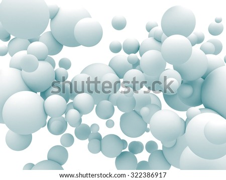 Abstract White Chaotic Spheres Particles Background. 3d Render Illustration - stock photo