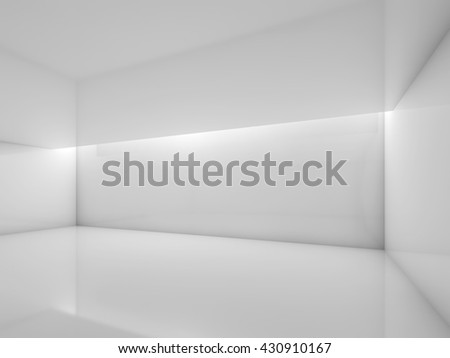 Abstract white contemporary interior, empty room with glossy walls and ceiling illumination. Digital 3d illustration, computer graphic - stock photo