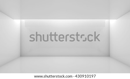 Abstract white contemporary interior, front view of an empty room with soft ceiling illumination. Digital 3d illustration, computer graphic - stock photo