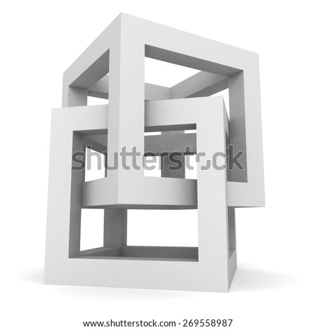 Abstract White Cube Structure Object. 3d Render Illustration - stock photo