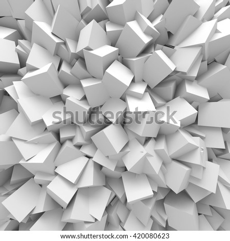 Abstract White Cubes Wall Background. 3d Render Illustration - stock photo