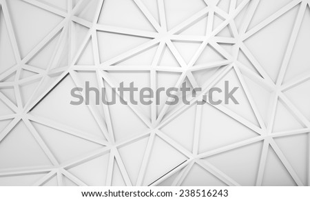 Abstract white 3d background with polygonal relief pattern on the wall - stock photo