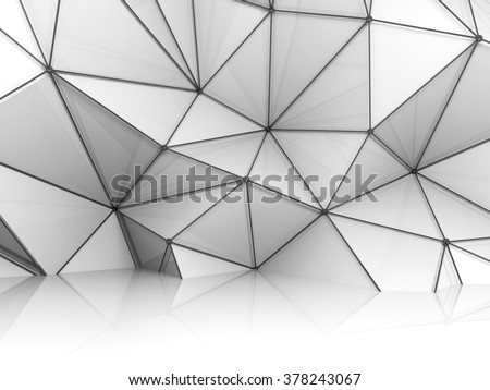 Abstract white 3d interior, chaotic polygonal relief pattern on the wall with black metal wire-frame mesh structure - stock photo