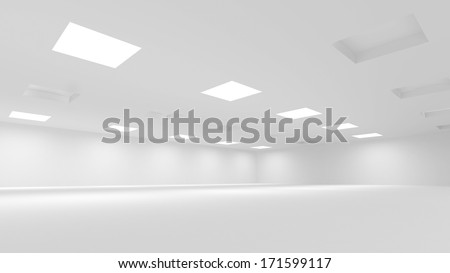 Abstract white 3d interior with soft illumination - stock photo