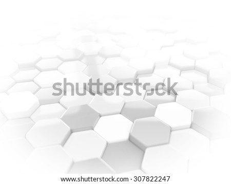 Abstract white 3D render hexagonal geometric structure background - stock photo