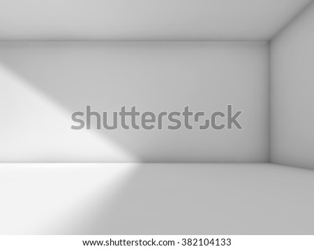 Abstract white empty room interior. 3d render illustration, studio with side soft light - stock photo