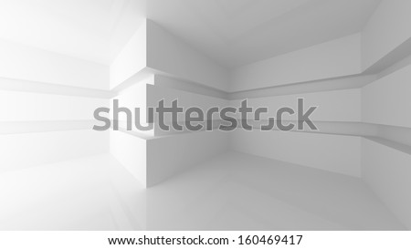Abstract white empty room interior with corners. 3d render illustration - stock photo