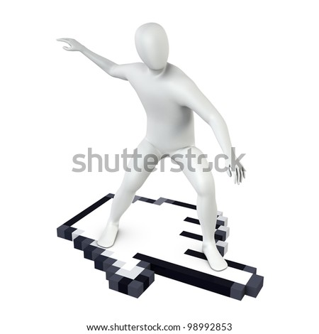 Abstract white guy rides on large computer cursor, isolated on white - stock photo