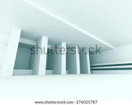 Abstract White Interior Empty Hall Background. 3d Render Illustration - stock photo