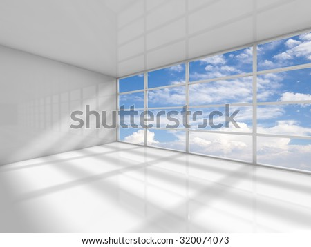 Abstract white interior of an empty office room with clouds behind the window. 3d render illustration - stock photo