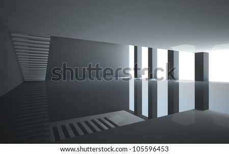 Abstract white interior with balcony stairs without railings. - stock photo