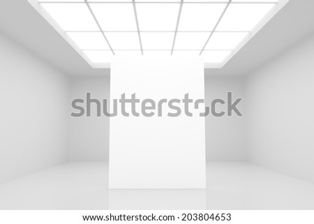 abstract white interior with stand and white paper - stock photo