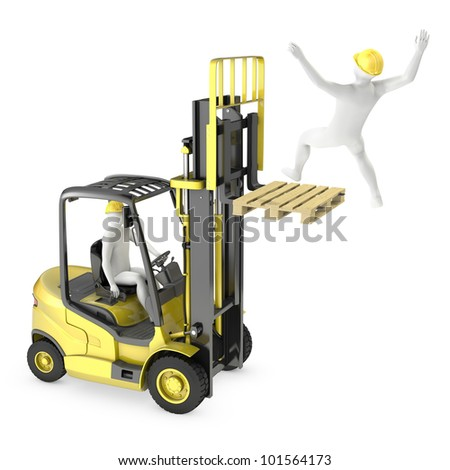 Abstract white man falling from lift truck fork, due to safety violation, isolated on white background - stock photo