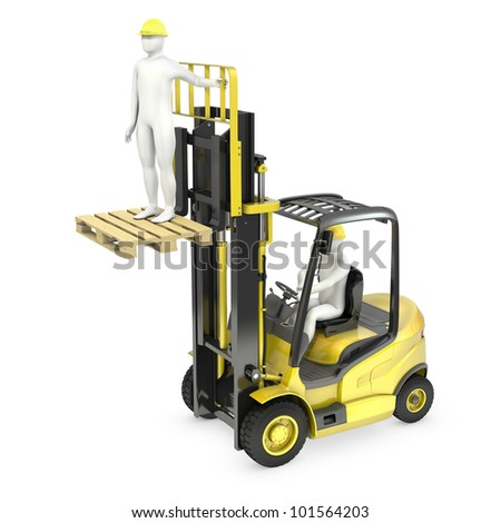 Abstract white man in a fork lift truck, lifting other worker on a fork, isolated on white background - stock photo
