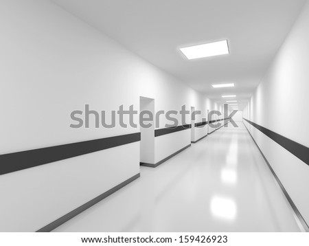 Abstract white office corridor interior. 3d render illustration - stock photo
