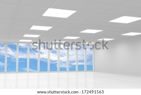 Abstract white office 3d interior with blue sky behind the windows - stock photo
