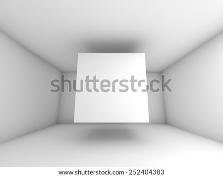 Abstract white room interior with flying cube. 3d background illustration - stock photo