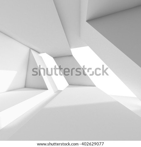 Abstract white room interior with windows. Empty architecture background, 3d render illustration - stock photo