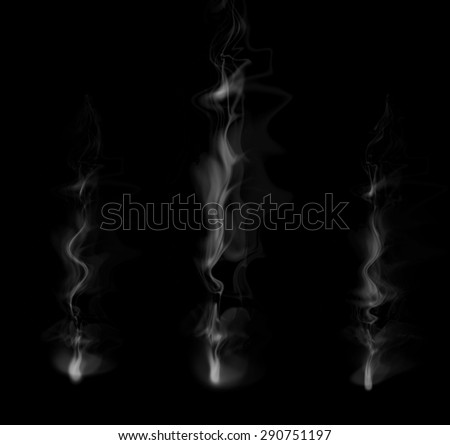 Abstract white smoke isolated on a black background. - stock photo