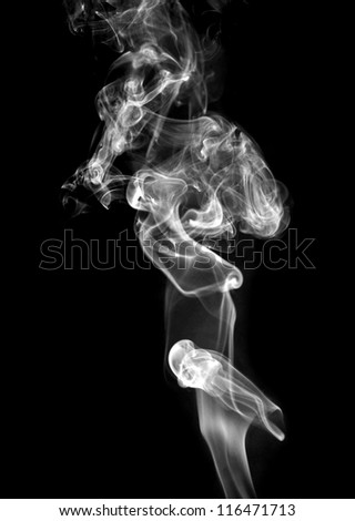 Abstract white  smoke isolated on black - stock photo