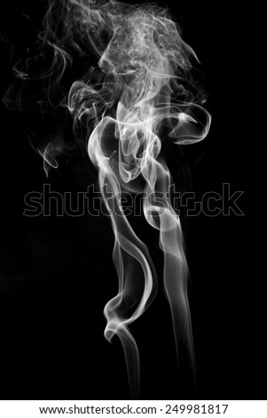 Abstract white smoke on black background. - stock photo