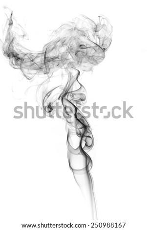 Abstract white smoke on black background. - stock photo