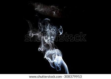 Abstract white smoke on black background, smoke background,white ink background,white,beautiful white smoke - stock photo