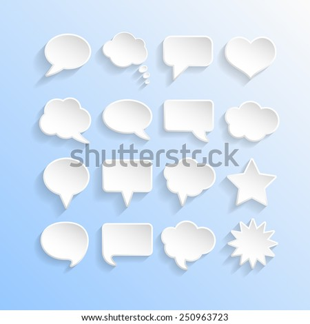 Abstract White Speech Bubbles Set - stock photo