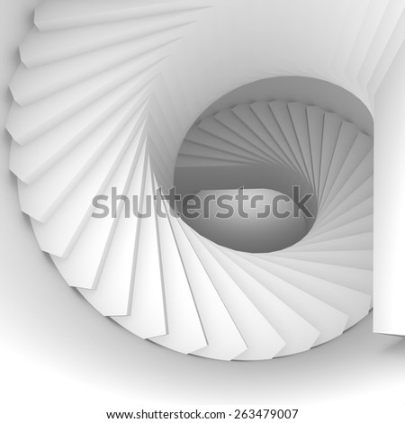 Abstract white spiral interior perspective with stairs. 3d illustration - stock photo