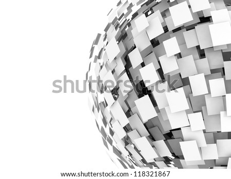 Abstract white square cube - stock photo