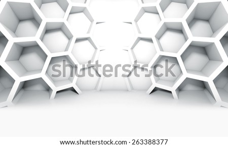Abstract white symmetric interior with honeycomb structures on the wall, 3d illustration - stock photo