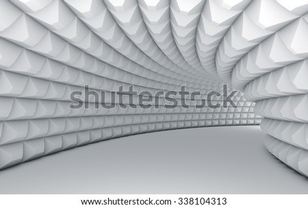 Abstract white tunnel with pyramid textured walls. - stock photo