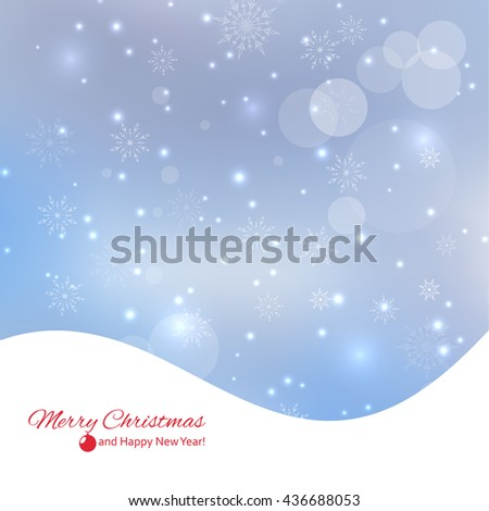 Abstract Winter Background with beautiful various snowflakes and stars. Happy New Year and Merry Christmas. - stock photo