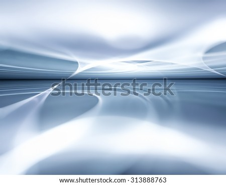 Abstract winter background with fractal horizon - stock photo