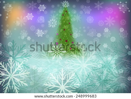 Abstract winter background with green Christmas tree. - stock photo