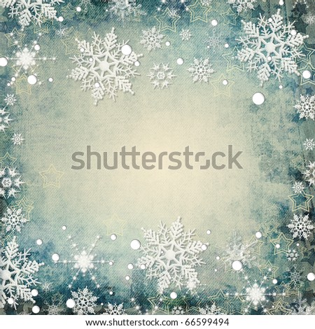Abstract winter background with snowflakes and place for text in skrapbook style - stock photo