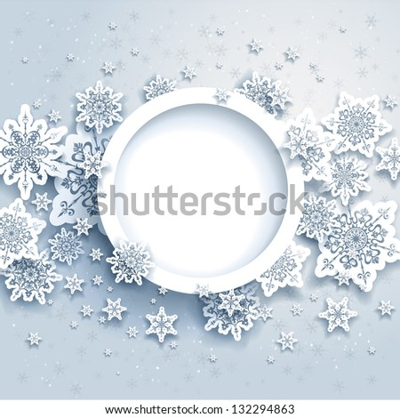 Abstract winter design with snowflakes and space for text. Raster version - stock photo