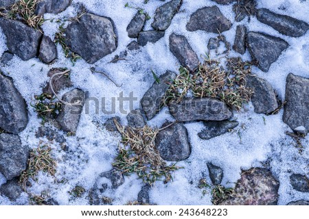 Abstract winter texture background. Stones, snow and ice in nature pattern. Close up image - stock photo