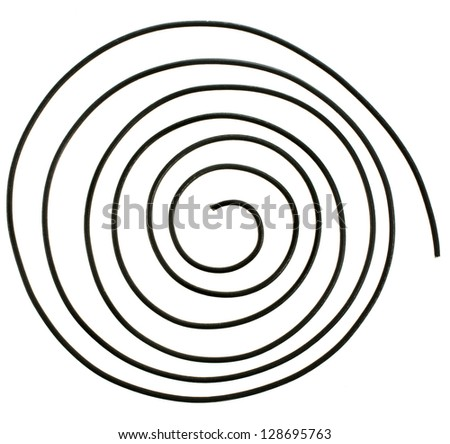 abstract wire spiral close up  isolated over white background - stock photo