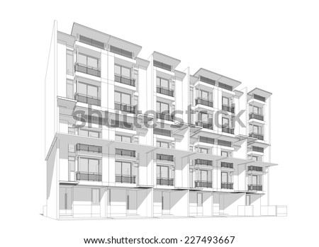 Abstract wireframe of building, 3D render  - stock photo