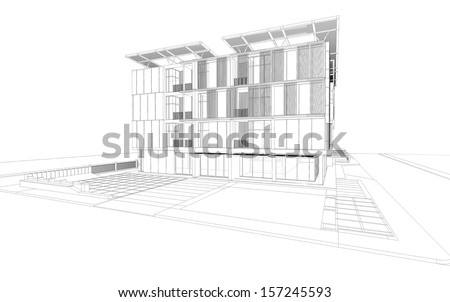 Abstract wireframe of residential building, 3D render of building - stock photo