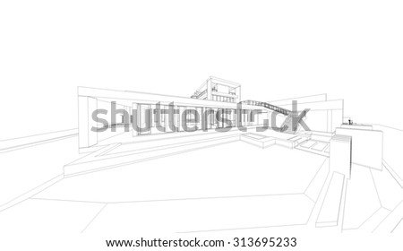 Abstract wireframe perspective of 3D building. 3D rendering of house. - stock photo