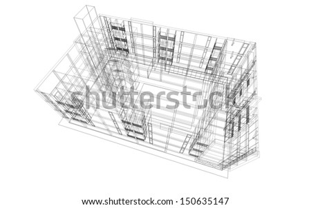 Abstract wireframe structure of 3D building construction - stock photo